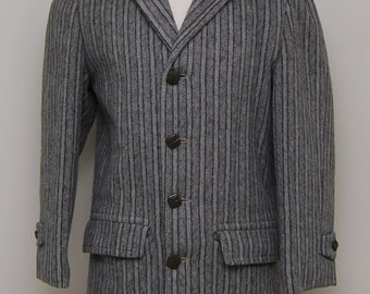 1950s men's grey and black stripe coat/ 50s men's stripe coat/ Marshall Ray