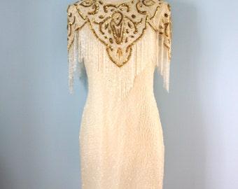 1980s silk dress / 80s beaded silk dress / Ivory Tower dress
