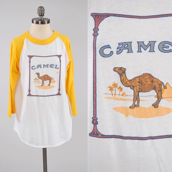 vintage 80s camel cigarettes baseball t shirt smoking. Black Bedroom Furniture Sets. Home Design Ideas