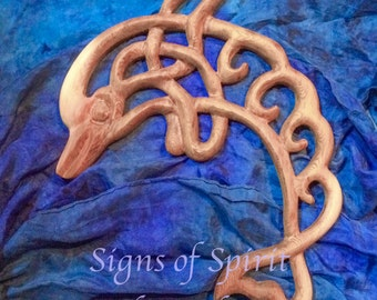 Dolphin Knot- Keeper of the Sacred Breath of Life-Celtic Wood Carving-Water Guardian