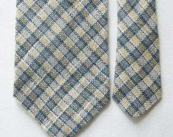 Vintage Mini Plaid Pattern Cotton/Linen Blend Necktie - Blue Grey, White, Pale Yellow