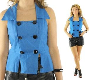 Vintage 90s Vest Top Sleeveless Blouse Bright Blue Button Up Shirt 1990s Medium M Collared Crop