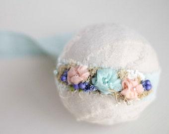 FRANCESCA COLLECTION. Organic. Tieback. Headband. Floral. Crown. Blue. Teal. Aqua. Newborn Photography Prop. Moss. Pearl. Tolola Design.