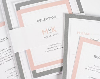 Gray and Blush Wedding Invitation - Unique, Romantic Wedding Invites - Modern Initials Wedding Invitations by Shine Invitations