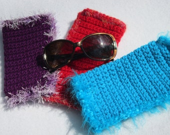 Crocheted Sunglass Case or Glasses Case Crocheted, Choose Your Color, Red, Purple or Blue with Fun Fur