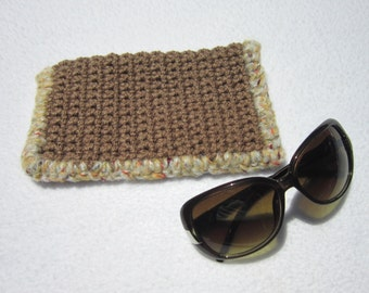 Tan Sunglass Case or Glasses Case Crocheted, Tan Crochet Case for Glasses, Mother's Day Gift,  by Charlene, Purse Accessory for Sister