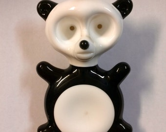 Panda Bear Hand Blown Glass Double Bowl Pipe