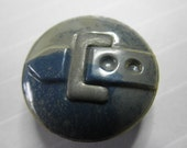Vintage Celluloid Button with Metal OME - 7/8 inch -Blue and Grey -Unusual color