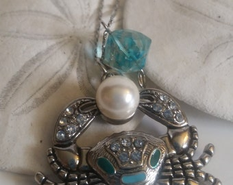 OOAK Elegant Silver Crab nautical necklace free shipping
