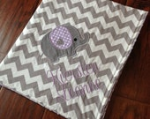 Personalized Baby Blanket- Minky Baby Blanket- Chevron Minky Blanket- Elephant Applique Baby Blanket- Custom Blanket-
