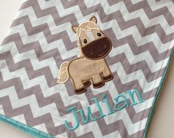 Personalized Baby Blanket- Horse Baby Blanket- Chevron Minky Blanket- Applique Baby Blanket- Custom Blanket-