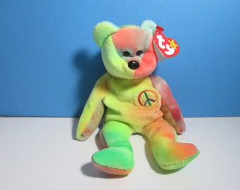 vintage ty beanie baby bear, peace, free shipping