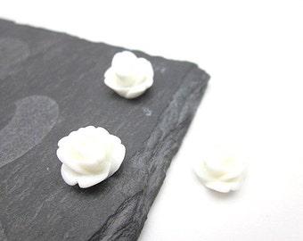White Flower Supply -- Wholesale Mini Flower Supplies -- White Cabochon, White Rose -- DIY Flower Pieces --Mini Rose Flower -- White Flowers