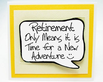Retirement Card and Magnet Quote. Yellow Magnet Card for Retirement. MN233