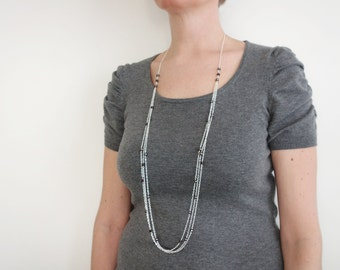 Long layered necklace pearl chain necklace faceted black beads minimalist long necklace