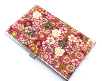 Colorful Polymer Clay Business Card  Case, Flowers and Dragonflies