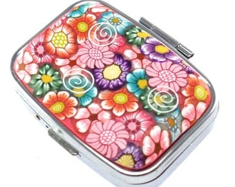 2 Compartment Polymer Clay Covered Pill Box, Pill Case, Colorful Flower Design
