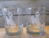 Wyoming Cowboys Pair of Etched Bourbon, Rocks Glasses - Ready to ship today