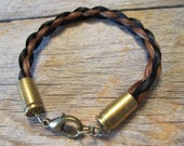 Bullets n Braids Bracelet, 9 inch, spent 9mm luger casings and braided horse hair - Ready to Ship Today
