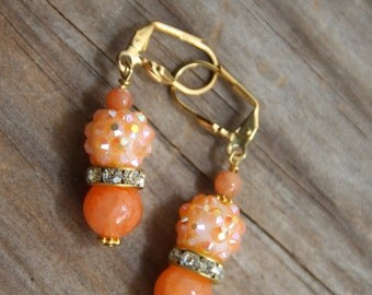 dangle earrings, Peach color Jade stone # 32  Candy Collection