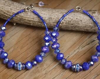 Dangle Hoops, Cornflower n Light Blue, rhinestones , Blue Jean Series