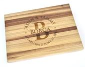 Personalized Monogram Butcher Block Cutting Board Laser Engraved Walnut 11x15x1.5 Inch Wood Cutting Board CB1115RI