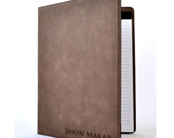 Personalized Leather Portfolio Notebook Journal Cover 8 Colors to Choose From