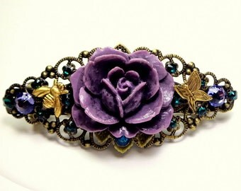 PS,Lavender Rose,Tanzanite,Emerald Crystal Barrette,Butterfly & Honey Bee,Vintage Style,Filigree,Hair Jewellry,Wedding,Bride,Bridesmaid Gift