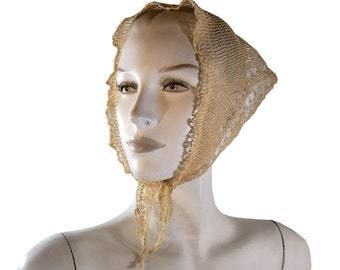 c. 1830 Antique Crochet Austrian Folk Hat Head Scarf