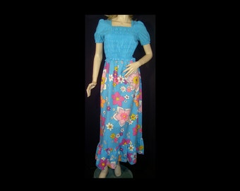1960s 1970s bright blue maxi dress - Medium / Large - short puff sleeves - made in Canada - smocked top - polka dot - polkadot