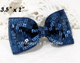 "Elsa Collection: 2 pcs NAVY  BLUE 3.5"" inch Sequin Bow Knot Appliques. DIY Hair Accessories. Hair Bows."