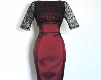 Burgundy Taffeta and Black Lace Tiffany Pencil Dress-  Made by Dig For Victory