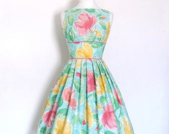 Pink & Aqua Floral Tiffany Prom Dress- Made by Dig For Victory