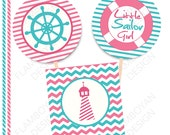 Little Sailor Girl Nautical Pennan Printable Party Banner Happy Birthday - pink &mint nile. - Instant Download - Cupcake Toppers - 1,5""