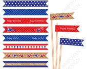 Flying Printable Straw Flag (Helicopter, Pilot, Airplane, Aviation, red gold blue baby birthday,  birthday printable , - Instant Download