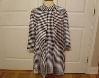Vintage 1960's Blue and White Checkered Dress w/Matching Coat  Made For Best & Co. By David Crystal