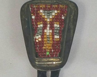 American Indian Seed Bead Inlaid Design Bolo Tie Signed MP Sterling