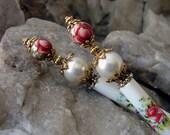 Red Rose Hair Sticks - Pair of Hairsticks with Red Rose Japanese Tensha Beads and Swarovski White Pearls Set of Two - Rosalia