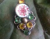 Glastonbury Fairy Bindi, re-useable bellydance / festival forehead gem, gold, green  and amber