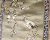 Chinese Silk Embroidered Handmade Antique Panel Framed Matted Gorgeous Tan Blue Gray 19 x 12