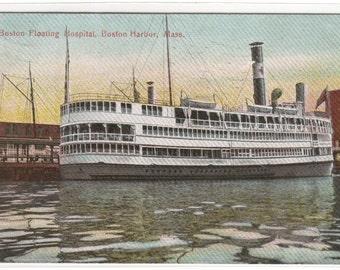 Floating Hospital Ship Boston Harbor Massachusetts 1909 postcard