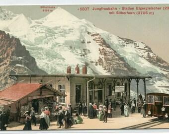 Railroad Station Eigergietscher Silberhorn Cog Incilne Train Switzerland 1910c postcard