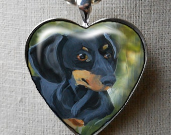CUSTOM Heart Doxie Necklace ~ Gifts for Her ~ Dog Necklace ~ April Birthday  ~ Dachshund Lover