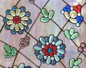 Flowers Stained Glass Panel Modern Colorful Garden Stained Glass Window Panel Handmade OOAK