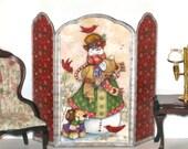 Dollhouse Screen Snowman and Redbirds Miniature 1:12 or Half Scale N002