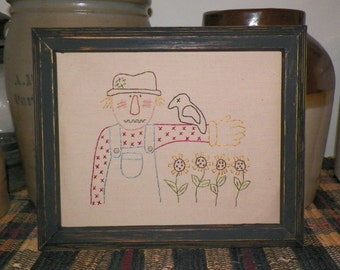 UNFRAMED Primitive Scarecrow Stitchery Prim Fall Autumn 8x10 Picture Home House Decor Harvest Crow Folk Art Sunflower Stitched wvluckygirl