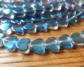 Meridian Blue Mystic Glass Hearts 10mm Half Strand