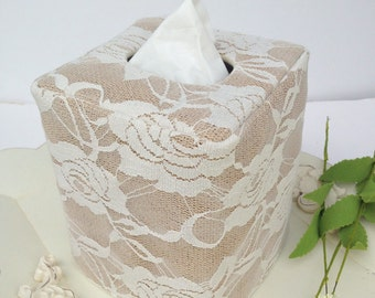 Light Ivory Lace Burlap natural tissue box cover