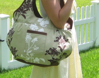Large Tote Bag. Large Book Bag. Large Beach Bag. in Khaki Green with Chocolate Brown and White Branch Blossoms
