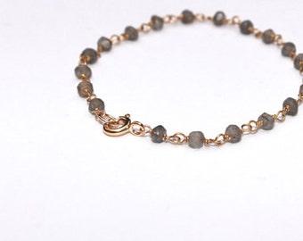 Labradorite Anklet, Gemstone Anklet, Healing Crystal, Beaded Ankle Bracelet, Labradorite, Chakra, Gold Labradorite Ankle Bracelet